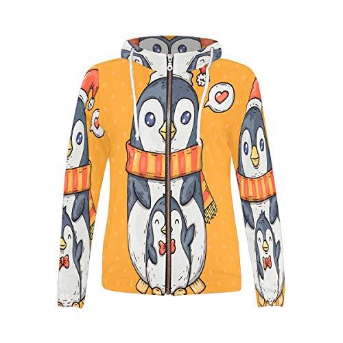 InterestPrint Women's Full-Zip Hooded Sweatshirt Cute Cartoon Penguins L (Up Hoodie Penguin Zip)