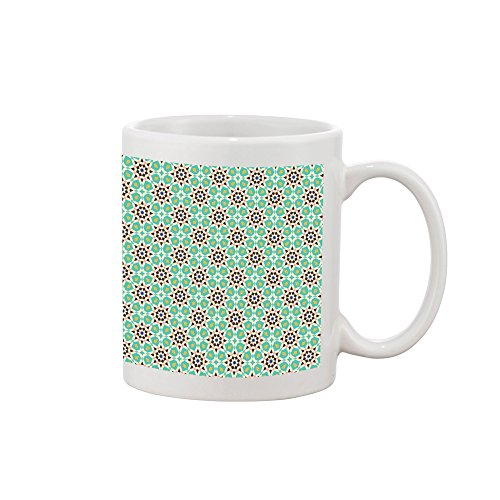- Green Red Mosaic Majolica Flowers Arab Style Tiles Decoration Art Design Printed Mug Coffee Tea Cup 15oz