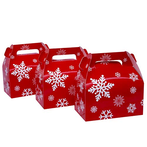 25-Pack Christmas Red Gable Candy Boxes,Small Goodie Treat Gift Boxes for Wedding and Birthday Party Favors Box 6.2 x 3.5 x 3.5 inch