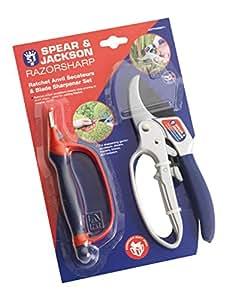 Spear & Jackson CUTTINGSET1 - Tijera de trinquete y afilador de cuchillas 6 en 1