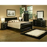 Sandberg Furniture Regency  5 piece Bedroom Set, Queen, Black