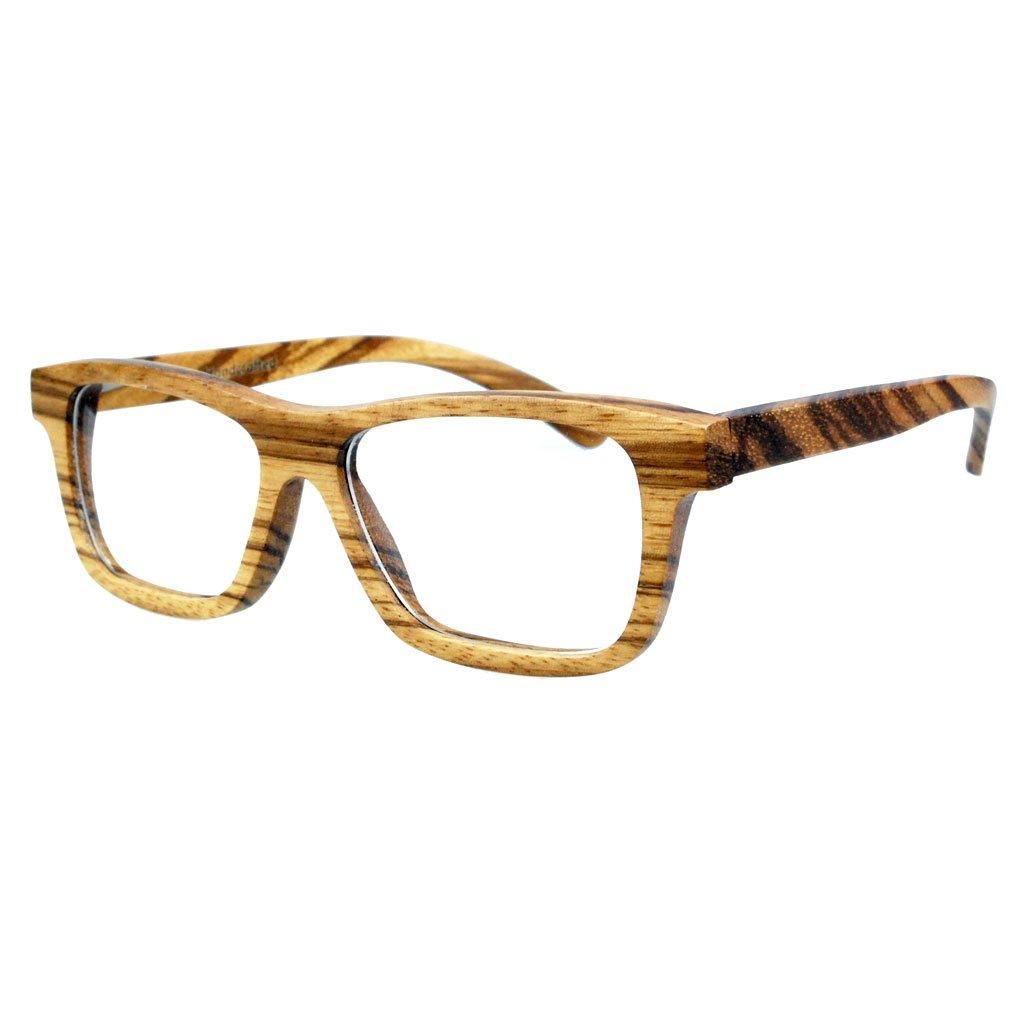 Brille aus Holz - 100% Handgefertigt - Unkorrigierte durchsichtige Brillengläser, bei einem Qualifizierten Optiker zu ersetzen - CE Standards - Umweltfreundlich - Retro / Vintage Look – Modetrend für Männer und Frauen – Tuch und Bambus-Etui ANGEBOT