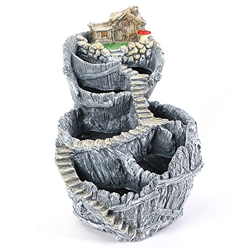 ncyp-fairy-garden-miniature-broken-bucket-flower-pot-cottage-vertical-sculpture-planter-grey