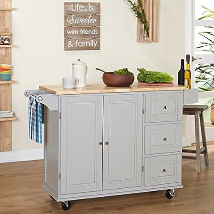 Amazon.com: Aspen 3-Drawer Drop Leaf Kitchen Cart with Towel ...