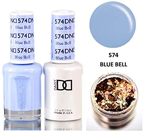 Daisy DND Blues & Greens Soak Off GEL POLISH DUO, All In One Gel Lacquer + Matching Nail Polish Color for Nails (with bonus side Glitter) Made in USA (Blue Bell (574))