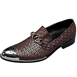 Slip On Leather Shoes With Imitation Crystal Embossing