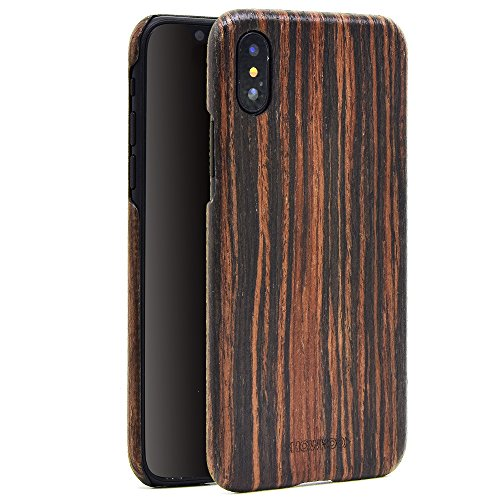 iphone X Wood Case,iPhone 10 wooden Case,SHOWKOO Slim Real Wooden Shockproof Protective iphone Cover for Apple 5.8 In iPhone X (Ebony) by Showkoo
