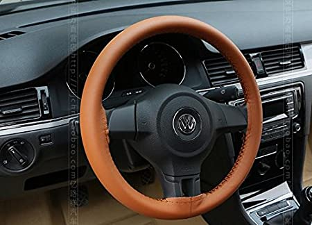 Super PDR Universal DIY Leather Car Auto Gray Steering Wheel Cover Wrap with Needles and Thread,38cm//15