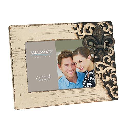 Stonebriar Rustic Worn Wood Photo Frame with Metal Fleur de Lis Detail and Easel Stand , Decorative Picture Frame for Horizontal Table Top Display, Vintage Home Decor, 7x5 (De Fleur Plates Lis)