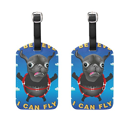 - Travel Luggage Tag Funny Pug Dog PU Leather Baggage Suitcase Tag Name Address ID Label 2 Pieces Set
