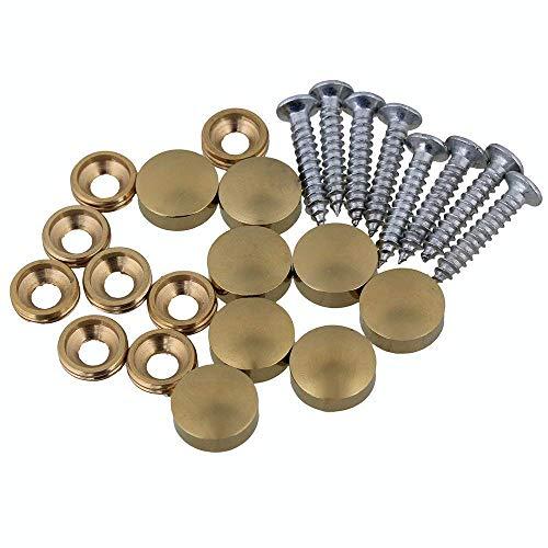 8 Pcs 12mm Dia Brass Mirror Screws with Decorative Cap Cover Nails,Golden Finish ...