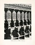 1903 Print Gothic Wood Carved Choir Stalls San Pietro Perugia Umbria Italy Seat - Original Halftone Print