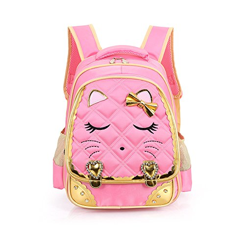 SUNSHAK Cat Face Bowknot Elementary Backpack for Girls Bling Princess Schoolbag (Small, Pink)