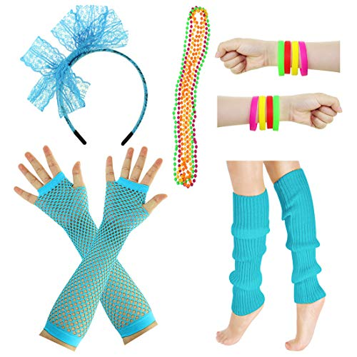 JINSEY Women's 80s Outfit accessories Leg Warmers Gloves For 1980s Theme Party Supplies-Neon ()