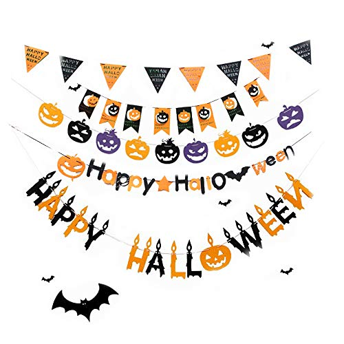 (5 PCS) Happy Halloween Banner Pull The Flag