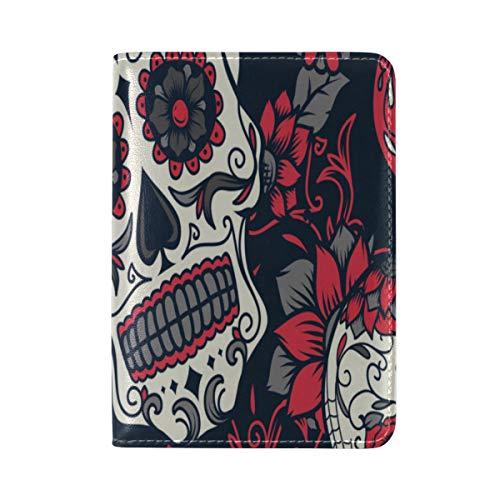(Passport Cover Case Cranio Head Retro Trend Cold Fashion Flower Design Fancy Leatherµfiber Multi Purpose Print Passport Holder Travel Wallet For Women And Men 5.51x3.94)