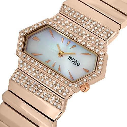 Moog Paris Broken Women's Watch with White Mother of Pearl Dial, Rose Gold Stainless Steel Strap & Swarovski Elements - M45084-106