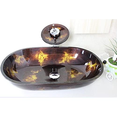 30%OFF HYY@ Toughened Glass Sink Set / Bathroom Tempered Glass Detail Basin / Faucet / Easy to Install (560 360 130 12MM)