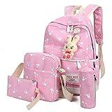 Outsta 4 Sets Women Girl Rabbit Animals Travel Backpack, School Bag Shoulder Bag Handbag Travel Lightweight Classic Basic Water Resistant Backpack Fashion (Pink)