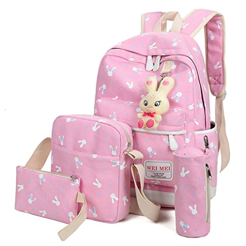 Outsta 4 Sets Women Girl Rabbit Animals Travel Backpack, School Bag Shoulder Bag Handbag Travel Lightweight Classic Basic Water Resistant Backpack Fashion (Pink) by Outsta