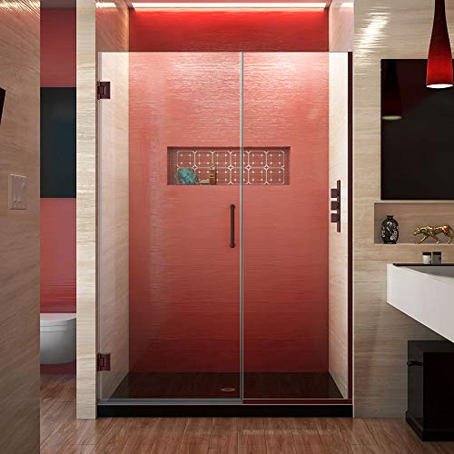 Bronze Frameless Shower Door - DreamLine Unidoor Plus 45 1/2-46 in. W x 72 in. H Frameless Hinged Shower Door, Clear Glass, Oil Rubbed Bronze, SHDR-244557210-06