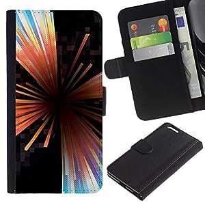 EJOY---La carpeta del tirón la caja de cuero de alta calidad de la PU Caso protector / Apple Iphone 6 PLUS 5.5 / --Líneas Extracto de cristal Negro Hole