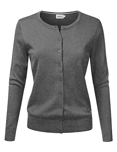 NINEXIS Women's Long Sleeve Button Down Soft Knit Cardigan Sweater CHARCOALGRAY S