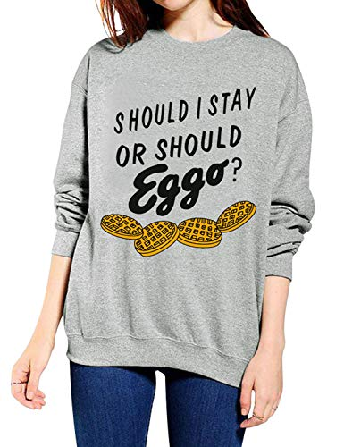 Sleeve Loose Letter Sweatshirt Should Nlife Stay Printed Long Top I Round Women Grey Neck Fit Eggo Blouse OBqEwU