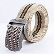 MTCDBD Canvas Men Waist Web Belt, Beige Stripes Adjustable Casual Fashion Breath
