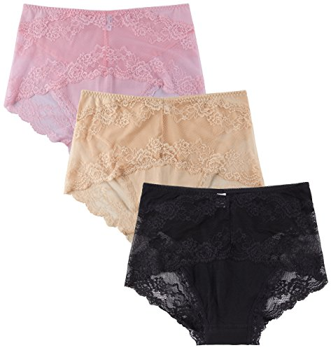 Innersy Women's Butt Lifter Trim Sexy Lace Panties Boyshorts Briefs Underwear(Pack Of 3)(L, Pink&Beige&Black) (Boyshorts Week)