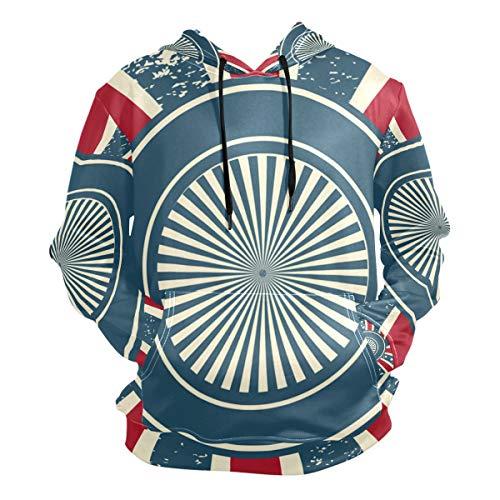 Usa Sunburst Guitar - Franzibla Vintage American Flag with Sunburst Men's Pullover Hooded Sweatshirt