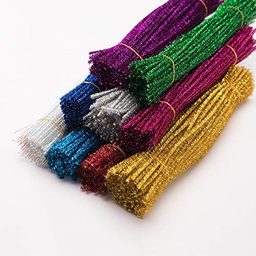 Color: Mix Color Randomly DalaB 100pcs 30cm Glitter Chenille Stems Pipe Cleaners Kids Toys DIY Craft Supplies for Crafting DIY Handmade Kids Educational Toys