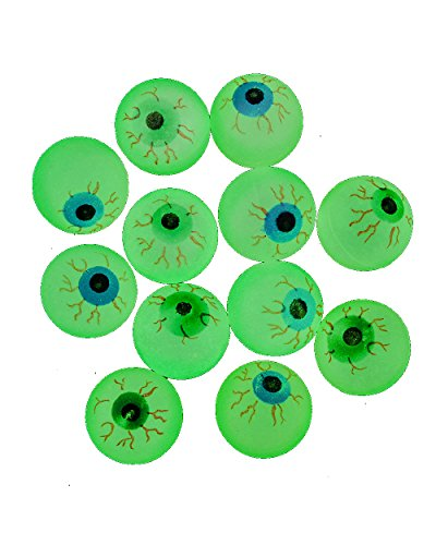 Price comparison product image Glow in the Dark Halloween EYE Ball Bouncy Balls 32 Mm Size Eyeballs - 12ct