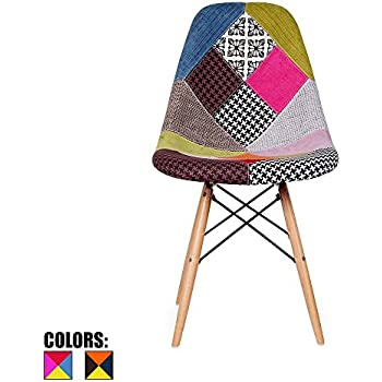 2xhome   Multicolor U2013 Modern Upholstered Eames Style Side Fabric Chair  Patchwork Multi Pattern Natural