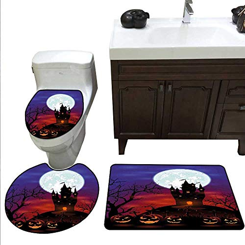 (Halloween 3 Piece Toilet mat Set Gothic Haunted House Castle Hill Valley Night Sky October Festival Theme Print Bathroom and Toilet mat Set)