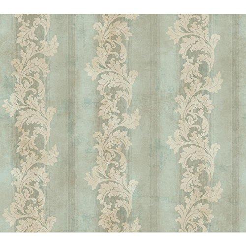 Acanthus Leaf Stripe - York Wallcoverings GF0812 Gold Leaf Acanthus Stripe Wallpaper, Pale Blue/Green, Beige, Taupe