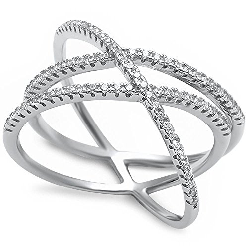 Crisscross Crossover X Ring Micro Round Pave White CZ 925 Sterling Silver Hot Trend, Size-8 ()