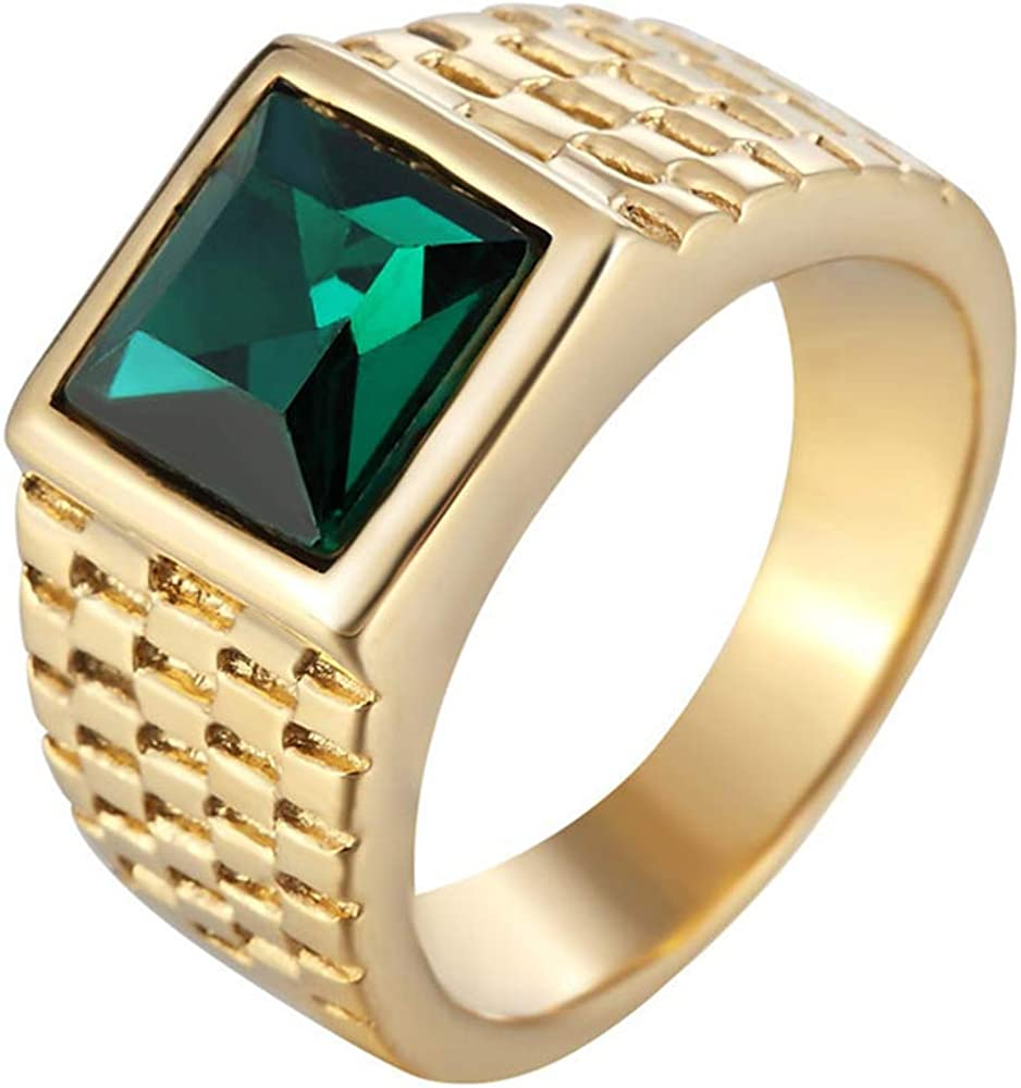 Quoouz Anillos chapados en Oro para Hombre Piedra Preciosa Verde Titanio Acero Anillos