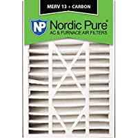 Nordic Pure 16x25x5 (4-7/8 Actual Depth) MERV 13 Plus Carbon Trion Air Bear Replacement AC Furnace Filter, Box of 1