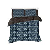 Eastern King Headboard Sale iPrint Comfortable Bed Sheet Set with Bedding Pillow Case Cover for Bed Width 6ft Pattern by,Damask,Dark Background with Complex Flower Patterns Eastern Design Dots and Leaves,Mint Dark Blue