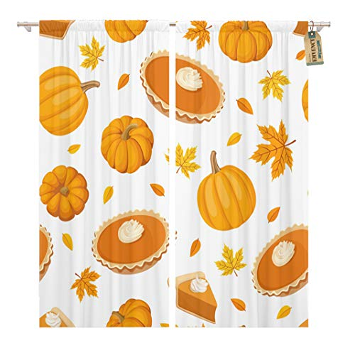 Golee Window Curtain Beige Thanksgiving Pumpkin Pies and Brown Dessert Pattern Leaf Home Decor Rod Pocket Drapes 2 Panels Curtain 104 x 63 inches -