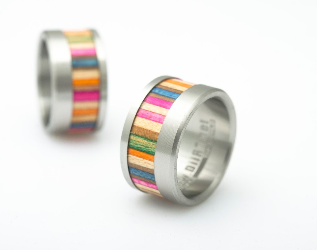 Diirt Upcycling Bague Bague Bague Rose  en skateboards recyclés / upcyclés fille d43294