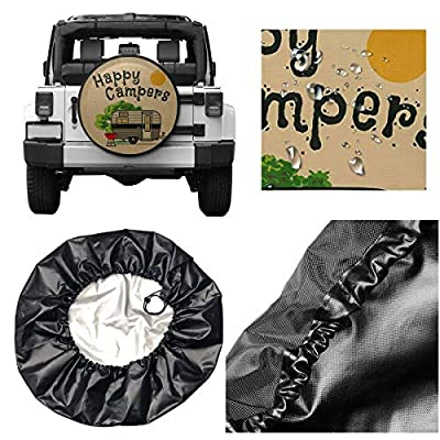 HAINANBOY Happy Camper Spare Tire Covers Potable Dirt Protector Wheel Covers Weather-Proof for Jeep Trailer RV SUV Truck Camper Travel Trailer Accessories 14 15 16 17 Inch : Sports & Outdoors