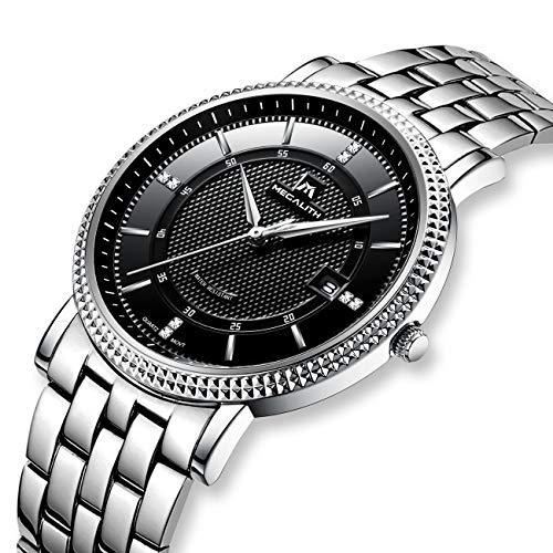 2577240246 Mens Stainless Steel Watches Men Luxury Waterproof Calendar Date Classic  Simple Design Dress Wrist Watch Gents Casual Business Analogue Quartz  Watches: ...