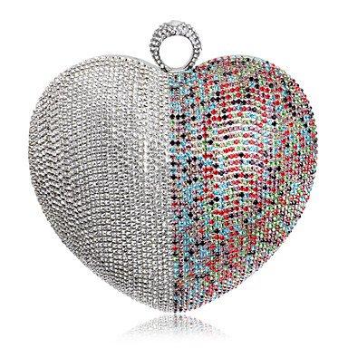 女性のハート型カラーマッチングダイヤモンドイブニングバッグ、黒の商品画像