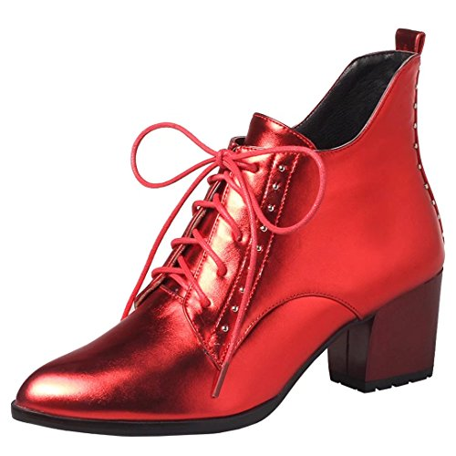 Red Pointed Women's Ankle AIYOUMEI Block Bootie Heel Fashion Winter Toe Boots Autumn wxFAFqT7f