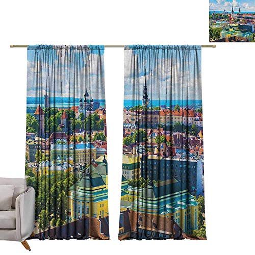 - berrly Blackout Curtain Panels European,Scenic View Old Town Tallinn Estonia Ancient European Cathedral Architecture Print, Multicolor W72 x L108 Art Grommet Window Drapes