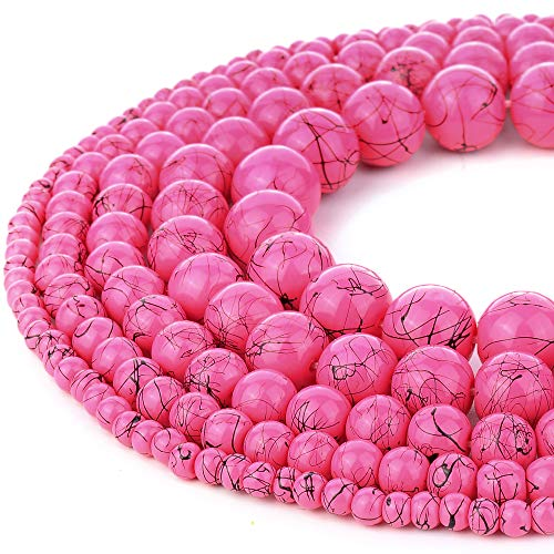 (RUBYCA 300pcs Mixed Sizes Loose Glass Beads for Jewelry Making, Opaque Pink, Black Paint Splatter)