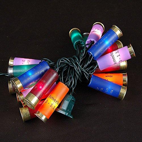Novelty Lights 20 Light Shotgun Shell Mini Light Set, Multi Color, Green Wire, 8.5 Feet