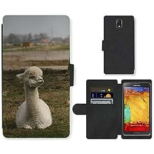 CARD POCKET BOOK CASE PU LEATHER CASE // M00147721 Alpaca dulce Animal Países Bajos // Samsung Galaxy Note 3 III N9000 N9002 N9005